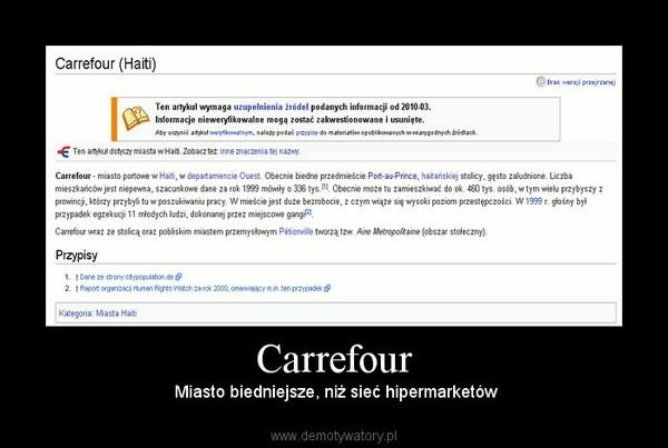 Carrefour –  Miasto biedniejsze, niż sieć hipermarketów
