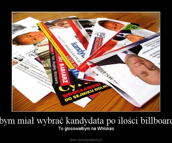 Jakbym miał wybrać kandydata po ilości billboardów – To głosowałbym na Whiskas