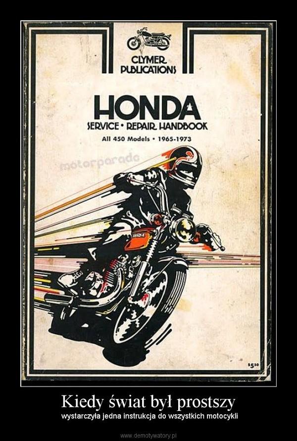 Kiedy świat był prostszy –  wystarczyła jedna instrukcja do wszystkich motocykli