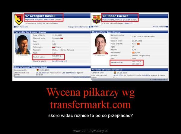 Wycena piłkarzy wg transfermarkt.com – skoro widać różnice to po co przepłacać?