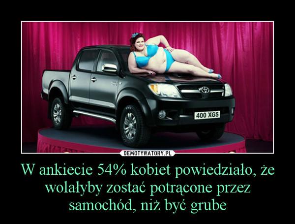 W ankiecie 54% kobiet powiedziało, że wolałyby zostać potrącone przez samochód, niż być grube –