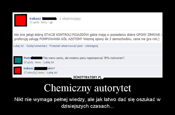 Chemiczny autorytet – Nikt nie wymaga pełnej wiedzy, ale jak łatwo dać się oszukać w dzisiejszych czasach...