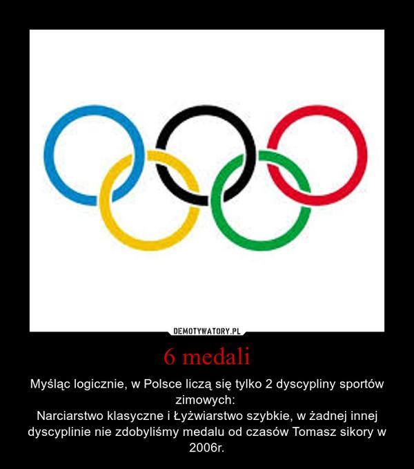 6 medali – Myśląc logicznie, w Polsce liczą się tylko 2 dyscypliny sportów zimowych: Narciarstwo klasyczne i Łyżwiarstwo szybkie, w żadnej innej dyscyplinie nie zdobyliśmy medalu od czasów Tomasz sikory w 2006r.