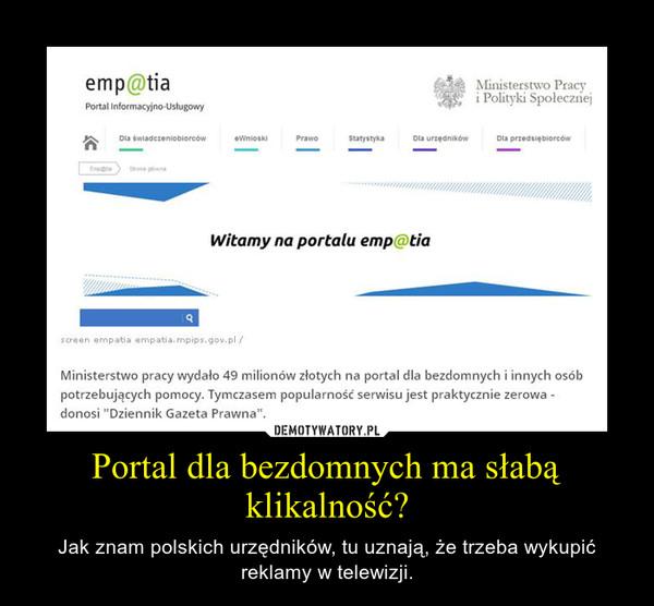 Portal dla bezdomnych ma słabą klikalność? – Jak znam polskich urzędników, tu uznają, że trzeba wykupić reklamy w telewizji.