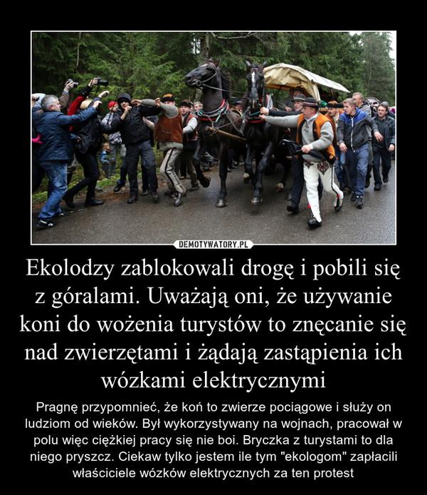 """Ekolodzy zablokowali drogę i pobili się z góralami. Uważają oni, że używanie koni do wożenia turystów to znęcanie się nad zwierzętami i żądają zastąpienia ich wózkami elektrycznymi – Pragnę przypomnieć, że koń to zwierze pociągowe i służy on ludziom od wieków. Był wykorzystywany na wojnach, pracował w polu więc ciężkiej pracy się nie boi. Bryczka z turystami to dla niego pryszcz. Ciekaw tylko jestem ile tym """"ekologom"""" zapłacili właściciele wózków elektrycznych za ten protest"""