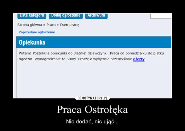 Praca Ostrołęka – Nic dodać, nic ująć...