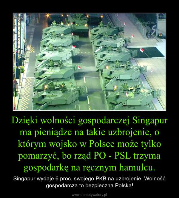Dzięki wolności gospodarczej Singapur ma pieniądze na takie uzbrojenie, o którym wojsko w Polsce może tylko pomarzyć, bo rząd PO - PSL trzyma gospodarkę na ręcznym hamulcu. – Singapur wydaje 6 proc. swojego PKB na uzbrojenie. Wolność gospodarcza to bezpieczna Polska!