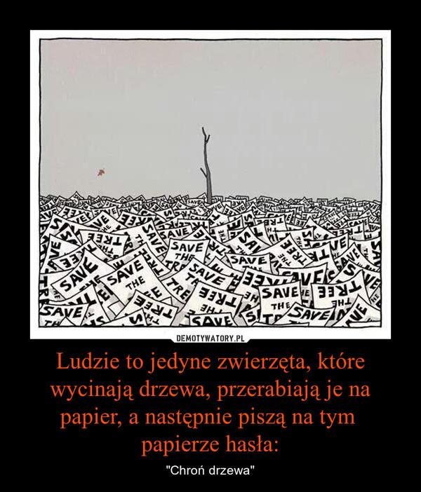 """Ludzie to jedyne zwierzęta, które wycinają drzewa, przerabiają je na papier, a następnie piszą na tym papierze hasła: – """"Chroń drzewa"""""""
