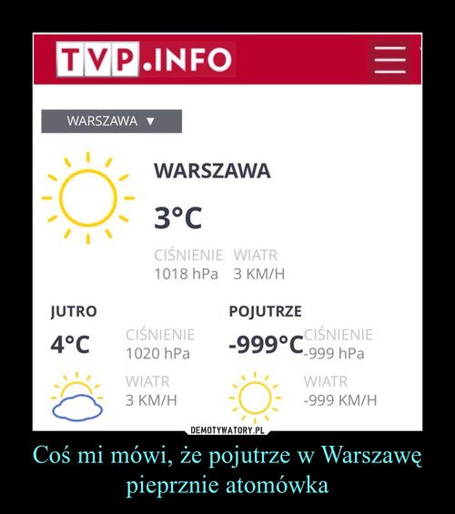Coś mi mówi, że pojutrze w Warszawę pieprznie atomówka