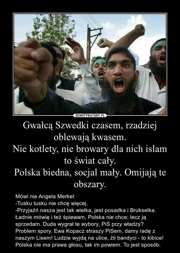 Gwałcą Szwedki czasem, rzadziej oblewają kwasem.Nie kotlety, nie browary dla nich islam to świat cały.Polska biedna, socjal mały. Omijają te obszary. – Mówi nie Angela Merkel:-Tusku tusku nie chcę więcej.-Przyjaźń nasza jest tak wielka, jest posadka i Brukselka. Ładnie mówię i też śpiewam, Polska nie chce; lecz ją sprzedam. Duda wygrał te wybory, PiS przy władzy? Problem spory. Ewa Kopacz straszy PiSem, damy radę z naszym Lisem! Ludzie wyjdą na ulice, źli bandyci - to kibice! Polska nie ma prawa głosu, tak im powiem. To jest sposób.