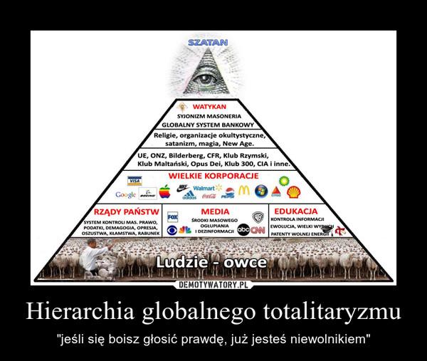 """Hierarchia globalnego totalitaryzmu – """"jeśli się boisz głosić prawdę, już jesteś niewolnikiem"""""""