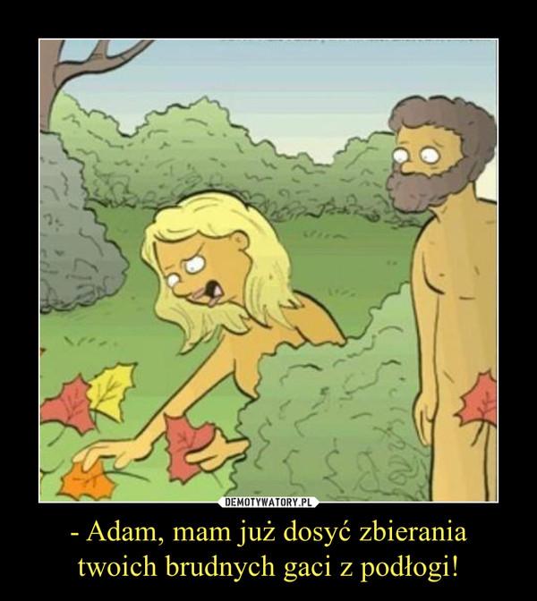 - Adam, mam już dosyć zbieraniatwoich brudnych gaci z podłogi! –
