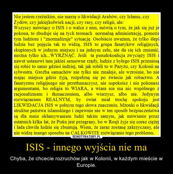 ISIS - innego wyjścia nie ma – Chyba, że chcecie rozruchów jak w Kolonii, w każdym mieście w Europie.