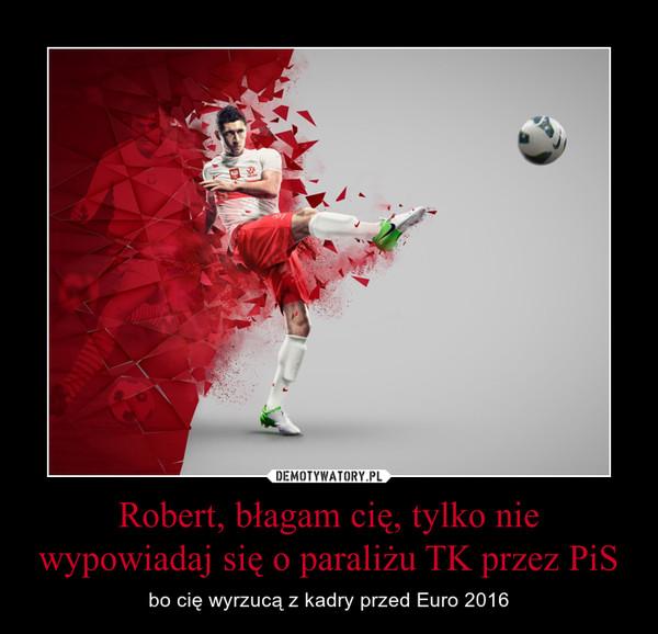 Robert, błagam cię, tylko nie wypowiadaj się o paraliżu TK przez PiS – bo cię wyrzucą z kadry przed Euro 2016