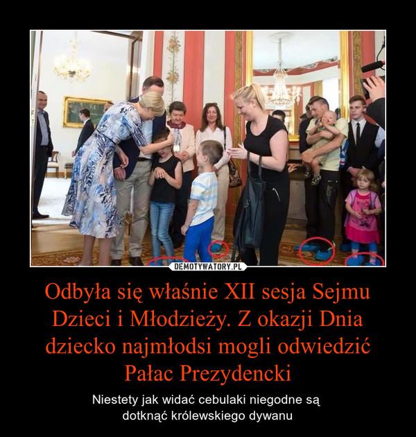 Odbyła się właśnie XII sesja Sejmu Dzieci i Młodzieży. Z okazji Dnia dziecko najmłodsi mogli odwiedzić Pałac Prezydencki – Niestety jak widać cebulaki niegodne są dotknąć królewskiego dywanu