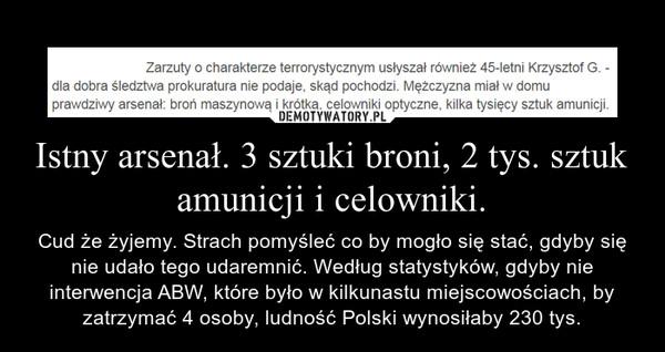 Istny arsenał. 3 sztuki broni, 2 tys. sztuk amunicji i celowniki. – Cud że żyjemy. Strach pomyśleć co by mogło się stać, gdyby się nie udało tego udaremnić. Według statystyków, gdyby nie interwencja ABW, które było w kilkunastu miejscowościach, by zatrzymać 4 osoby, ludność Polski wynosiłaby 230 tys.