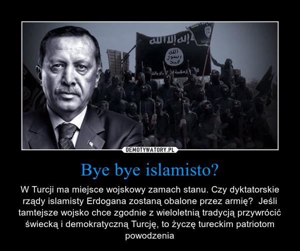 Bye bye islamisto? – W Turcji ma miejsce wojskowy zamach stanu. Czy dyktatorskie rządy islamisty Erdogana zostaną obalone przez armię?  Jeśli tamtejsze wojsko chce zgodnie z wieloletnią tradycją przywrócić świecką i demokratyczną Turcję, to życzę tureckim patriotom powodzenia