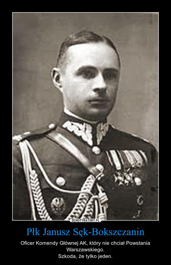 Płk Janusz Sęk-Bokszczanin – Oficer Komendy Głównej AK, który nie chciał Powstania Warszawskiego.Szkoda, że tylko jeden.