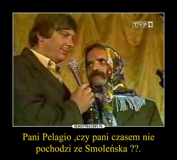Pani Pelagio ,czy pani czasem nie pochodzi ze Smoleńska ??. –