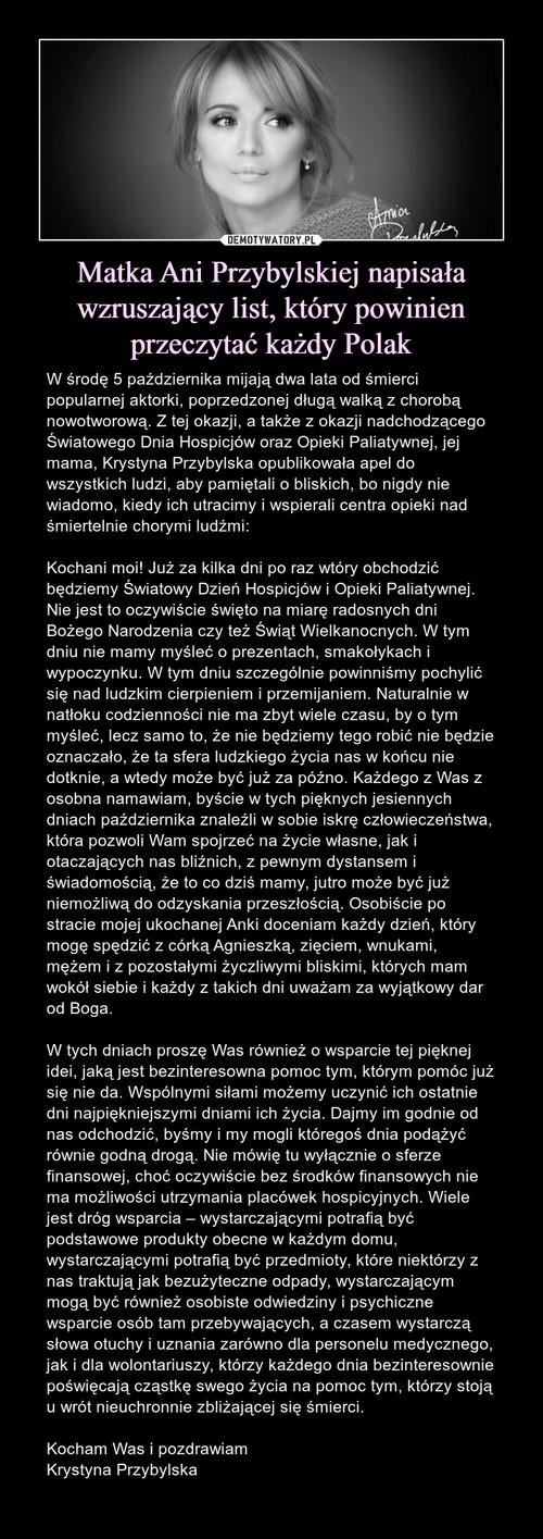 Matka Ani Przybylskiej napisała wzruszający list, który powinien przeczytać każdy Polak