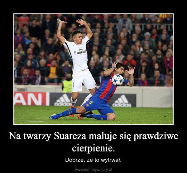 Na twarzy Suareza maluje się prawdziwe cierpienie. – Dobrze, że to wytrwał.