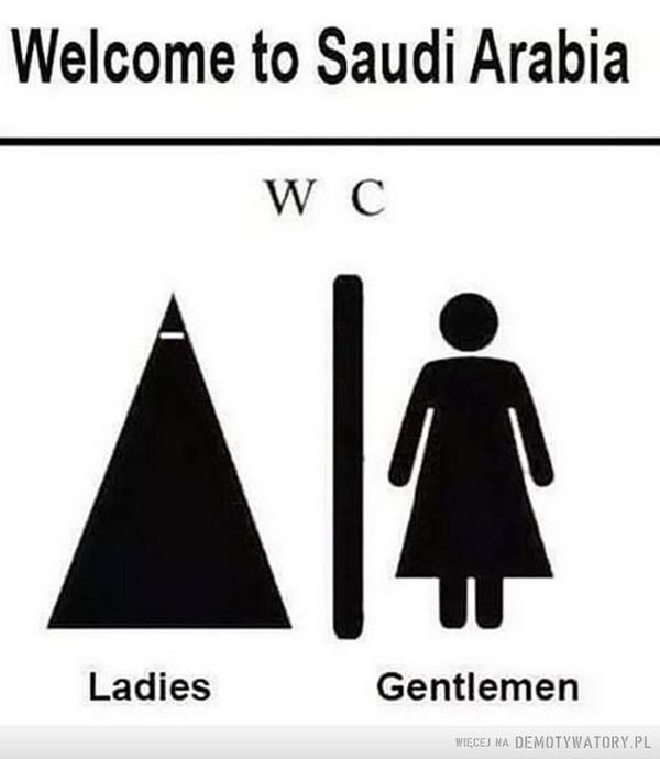 Piktogramy –  Welcome to Saudi Arabia WC Ladies Gentlemen