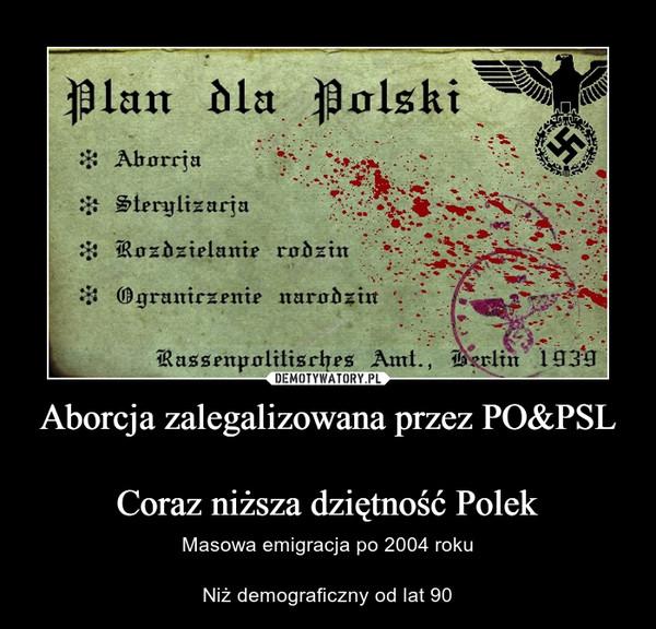 Aborcja zalegalizowana przez PO&PSLCoraz niższa dziętność Polek – Masowa emigracja po 2004 rokuNiż demograficzny od lat 90