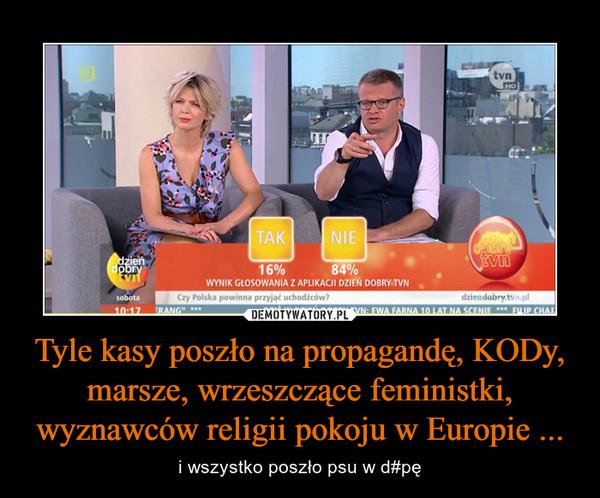 Tyle kasy poszło na propagandę, KODy, marsze, wrzeszczące feministki, wyznawców religii pokoju w Europie ... – i wszystko poszło psu w d#pę