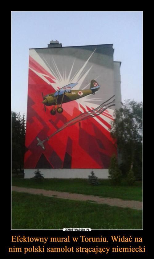 Efektowny mural w Toruniu. Widać na nim polski samolot strącający niemiecki