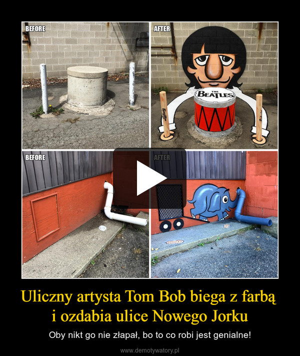 Uliczny artysta Tom Bob biega z farbą i ozdabia ulice Nowego Jorku – Oby nikt go nie złapał, bo to co robi jest genialne!