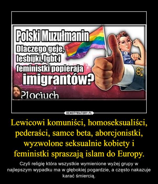 Lewicowi komuniści, homoseksualiści, pederaści, samce beta, aborcjonistki, wyzwolone seksualnie kobiety i feministki spraszają islam do Europy. – Czyli religię która wszystkie wymienione wyżej grupy w najlepszym wypadku ma w głębokiej pogardzie, a często nakazuje karać śmiercią.