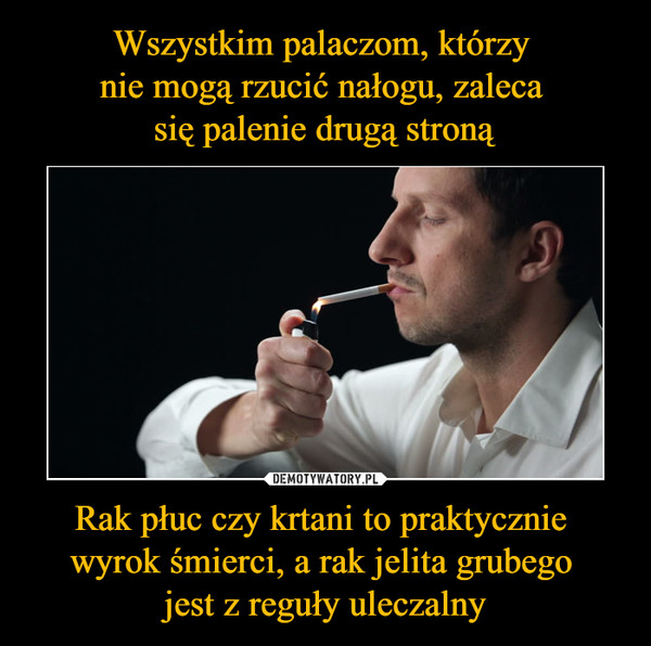 Rak płuc czy krtani to praktycznie wyrok śmierci, a rak jelita grubego jest z reguły uleczalny –