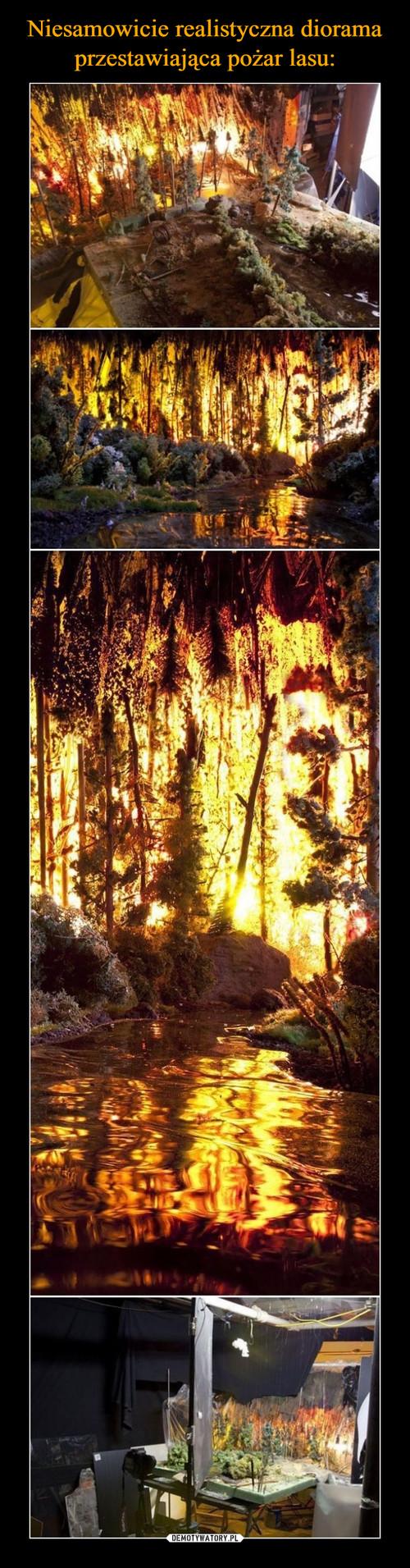 Niesamowicie realistyczna diorama przestawiająca pożar lasu: