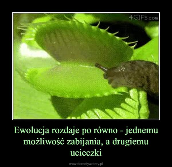 Ewolucja rozdaje po równo - jednemu możliwość zabijania, a drugiemu ucieczki –