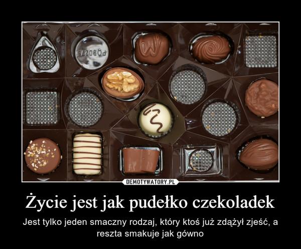 Życie jest jak pudełko czekoladek – Jest tylko jeden smaczny rodzaj, który ktoś już zdążył zjeść, a reszta smakuje jak gówno