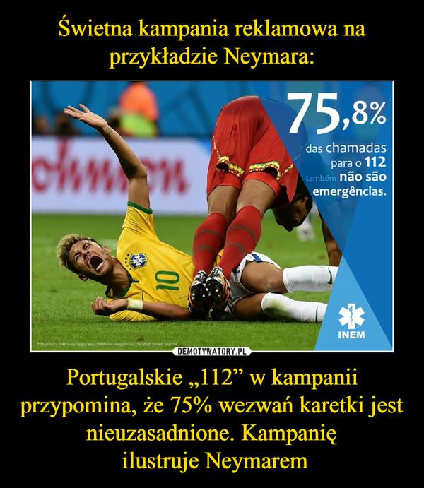 """Portugalskie """"112"""" w kampanii przypomina, że 75% wezwań karetki jest nieuzasadnione. Kampanię ilustruje Neymarem –"""