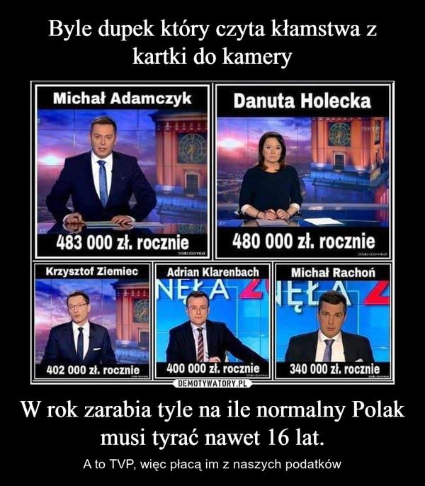 W rok zarabia tyle na ile normalny Polak musi tyrać nawet 16 lat. – A to TVP, więc płacą im z naszych podatków