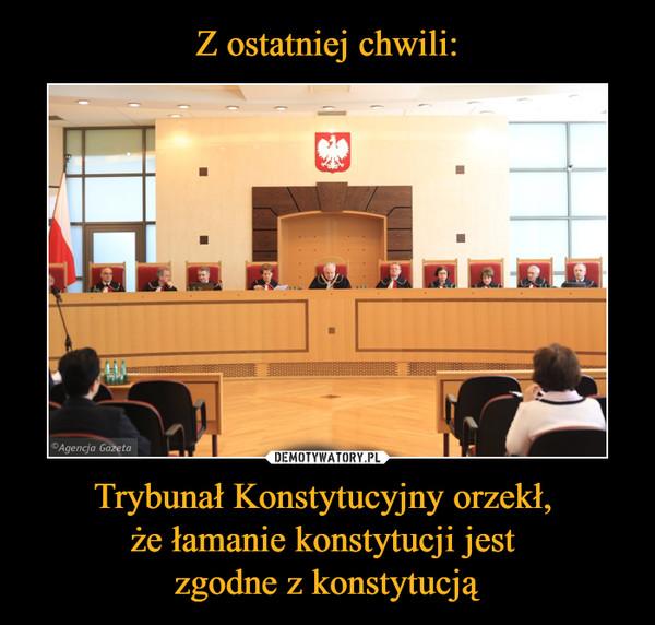 Trybunał Konstytucyjny orzekł, że łamanie konstytucji jest zgodne z konstytucją –