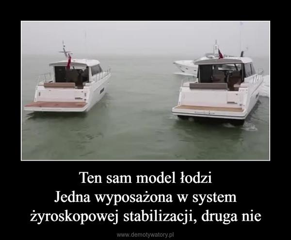 Ten sam model łodziJedna wyposażona w system żyroskopowej stabilizacji, druga nie –