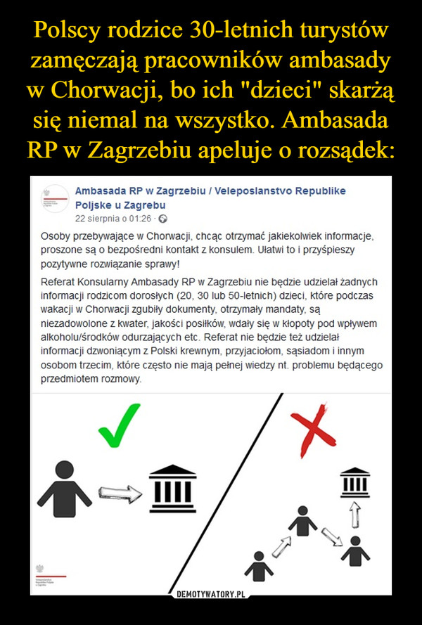 –  Ambasada RP w Zagrzebiu / Veleposlanstvo Republike Poljske u Zagrebu22 sierpnia o 01:26 ·Osoby przebywające w Chorwacji, chcąc otrzymać jakiekolwiek informacje, proszone są o bezpośredni kontakt z konsulem. Ułatwi to i przyśpieszy pozytywne rozwiązanie sprawy!Referat Konsularny Ambasady RP w Zagrzebiu nie będzie udzielał żadnych informacji rodzicom dorosłych (20, 30 lub 50-letnich) dzieci, które podczas wakacji w Chorwacji zgubiły dokumenty, otrzymały mandaty, są niezadowolone z kwater, jakości posiłków, wdały się w kłopoty pod wpływem alkoholu/środków odurzających etc. Referat nie będzie też udzielał informacji dzwoniącym z Polski krewnym, przyjaciołom, sąsiadom i innym osobom trzecim, które często nie mają pełnej wiedzy nt. problemu będącego przedmiotem rozmowy.
