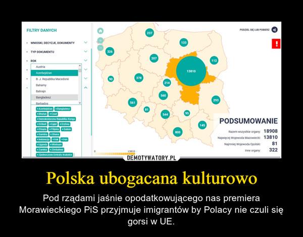 Polska ubogacana kulturowo – Pod rządami jaśnie opodatkowującego nas premiera Morawieckiego PiS przyjmuje imigrantów by Polacy nie czuli się gorsi w UE.