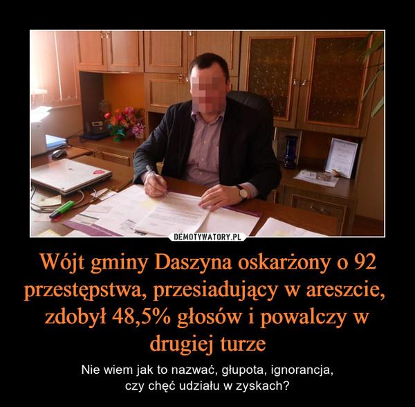Wójt gminy Daszyna oskarżony o 92 przestępstwa, przesiadujący w areszcie,  zdobył 48,5% głosów i powalczy w drugiej turze – Nie wiem jak to nazwać, głupota, ignorancja,czy chęć udziału w zyskach?