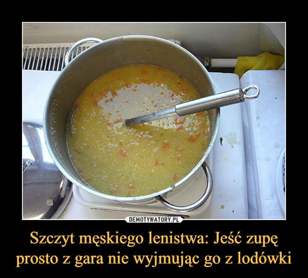 Szczyt męskiego lenistwa: Jeść zupę prosto z gara nie wyjmując go z lodówki –