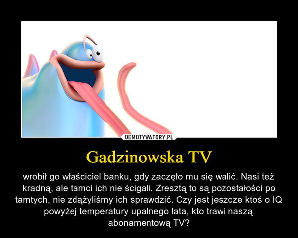 Gadzinowska TV – wrobił go właściciel banku, gdy zaczęło mu się walić. Nasi też kradną, ale tamci ich nie ścigali. Zresztą to są pozostałości po tamtych, nie zdążyliśmy ich sprawdzić. Czy jest jeszcze ktoś o IQ powyżej temperatury upalnego lata, kto trawi naszą abonamentową TV?