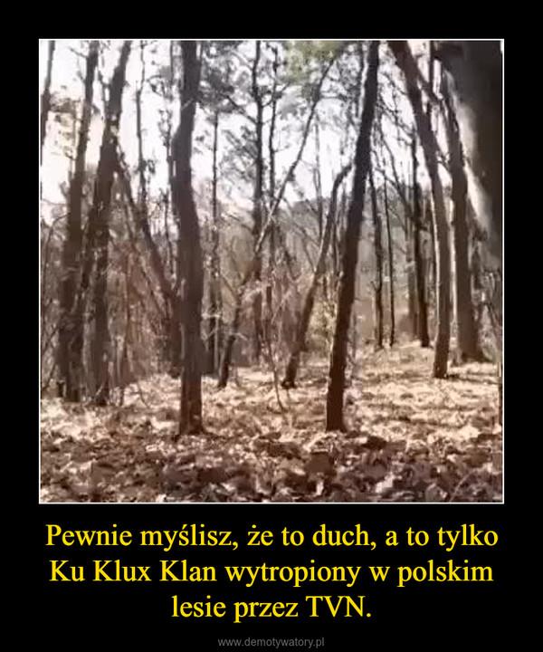 Pewnie myślisz, że to duch, a to tylko Ku Klux Klan wytropiony w polskim lesie przez TVN. –