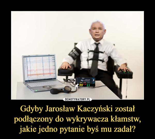 Gdyby Jarosław Kaczyński został podłączony do wykrywacza kłamstw, jakie jedno pytanie byś mu zadał? –