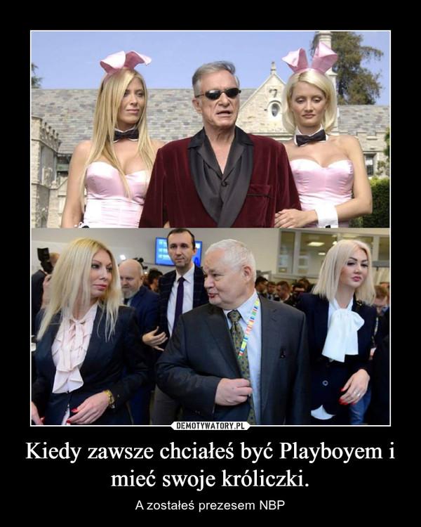 Kiedy zawsze chciałeś być Playboyem i mieć swoje króliczki. – A zostałeś prezesem NBP