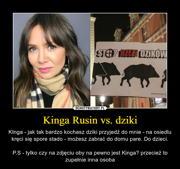 Kinga Rusin vs. dziki – KInga - jak tak bardzo kochasz dziki przyjedź do mnie - na osiedlu kręci się spore stado - możesz zabrać do domu pare. Do dzieci.P.S - tylko czy na zdjęciu oby na pewno jest Kinga? przecież to zupełnie inna osoba