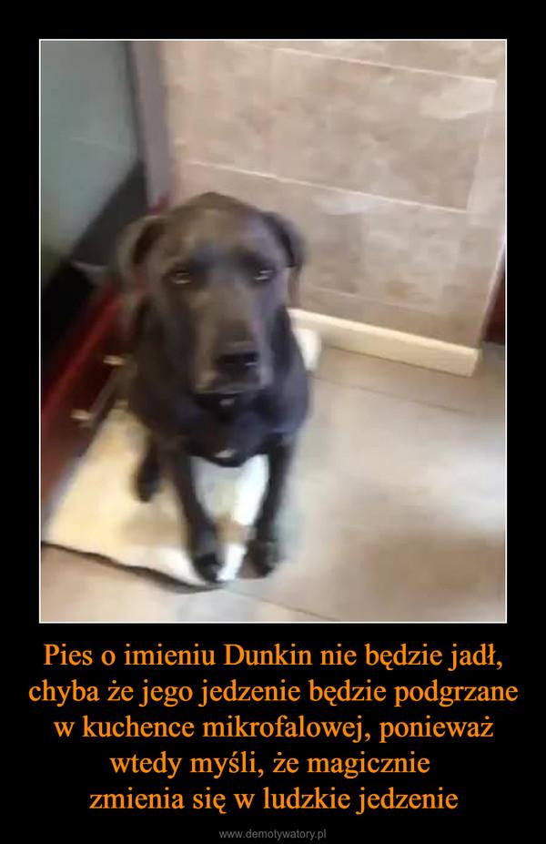 Pies o imieniu Dunkin nie będzie jadł, chyba że jego jedzenie będzie podgrzane w kuchence mikrofalowej, ponieważ wtedy myśli, że magicznie zmienia się w ludzkie jedzenie –