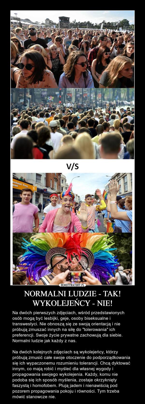 """NORMALNI LUDZIE - TAK!WYKOLEJEŃCY - NIE! – Na dwóch pierwszych zdjęciach, wśród przedstawionych osób mogą być lesbijki, geje, osoby biseksualne i transwestyci. Nie obnoszą się ze swoją orientacją i nie próbują zmuszać innych na siłę do """"tolerowania"""" ich preferencji. Swoje życie prywatne zachowują dla siebie. Normalni ludzie jak każdy z nas. Na dwóch kolejnych zdjęciach są wykolejeńcy, którzy próbują zmusić całe swoje otoczenie do podporządkowania się ich wypaczonemu rozumieniu tolerancji. Chcą dyktować innym, co mają robić i myśleć dla własnej wygody i propagowania swojego wykolejenia. Każdy, komu nie podoba się ich sposób myślenia, zostaje okrzyknięty faszystą i homofobem. Plują jadem i nienawiścią pod pozorem propagowania pokoju i równości. Tym trzeba mówić stanowcze nie."""